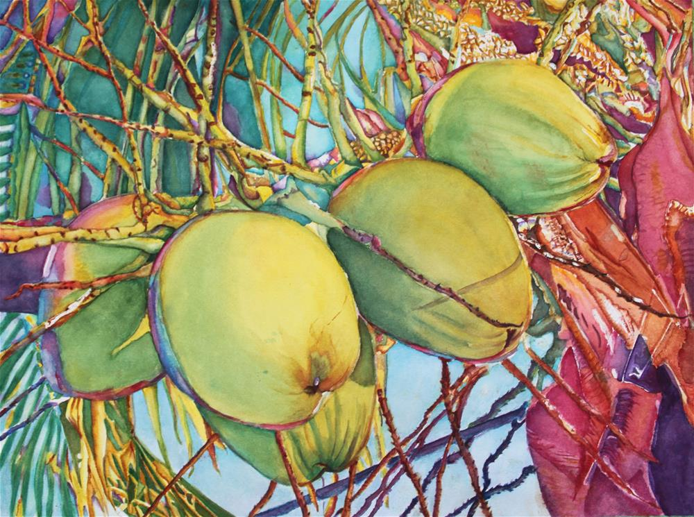 """Coconuts At Sunset"" original fine art by Christiane Kingsley"