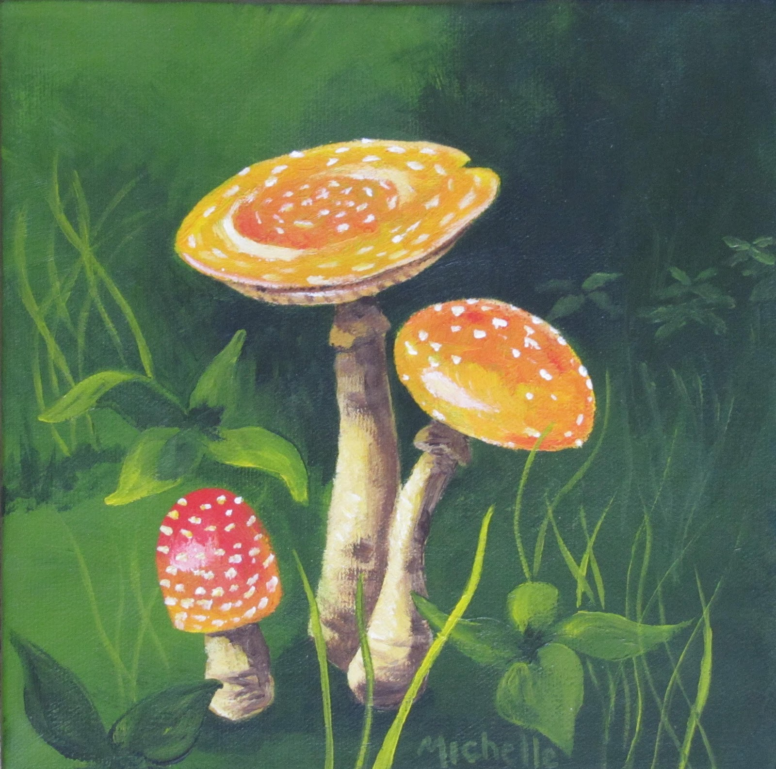 """Mushroom Family"" original fine art by Michelle Wolfe"