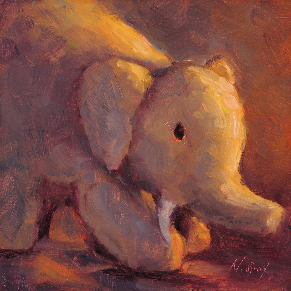 """Stuffed Elephant"" original fine art by Naomi Gray"