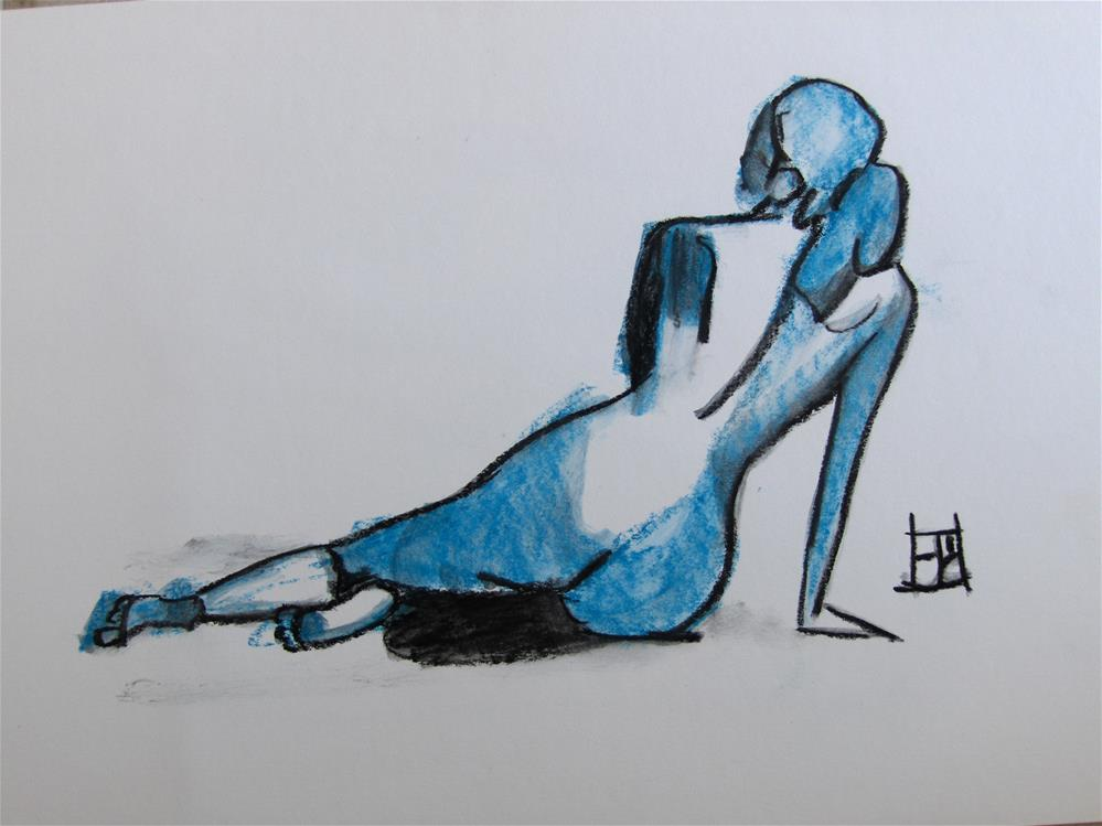 """Blue model"" original fine art by Arron McGuire"