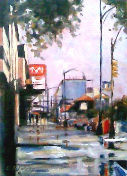 """""""City Rains"""" original fine art by Catherine Zakutney"""