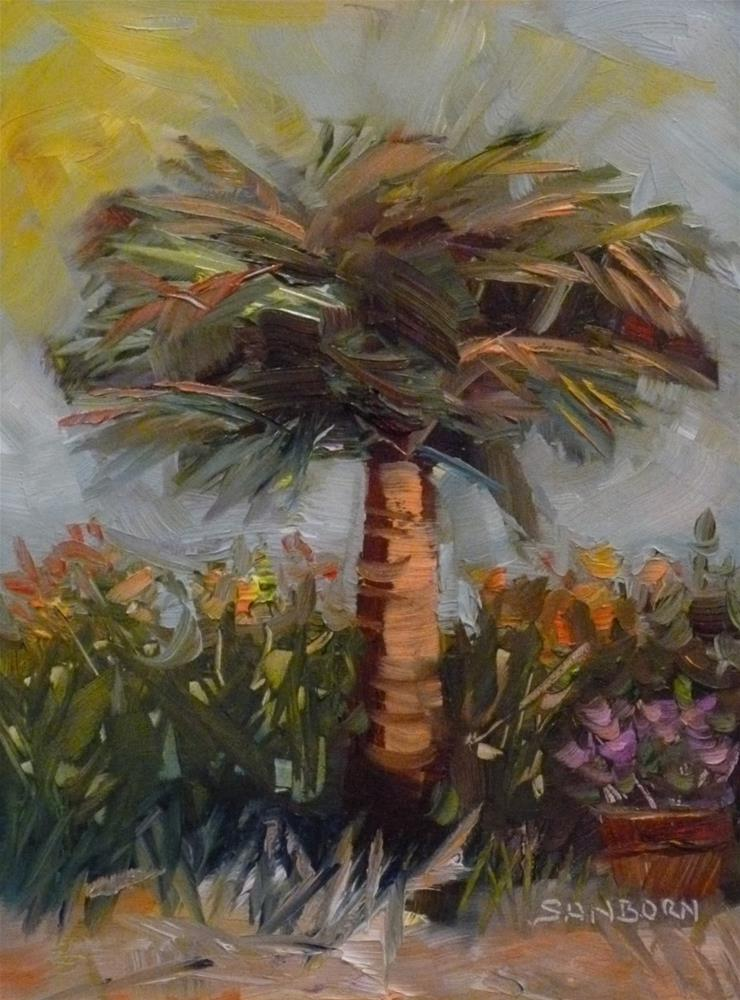 """Palm and Flowers"" original fine art by Jo-Ann Sanborn"