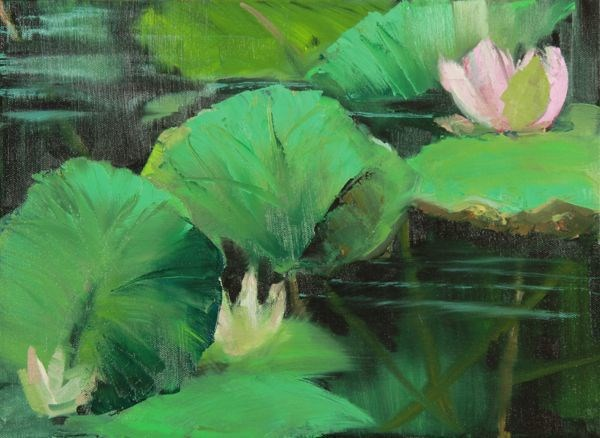 """Lily Pond, Landscape Art Painting Lily Pond VII by Colorado Artist Susan Fowler"" original fine art by Susan Fowler"