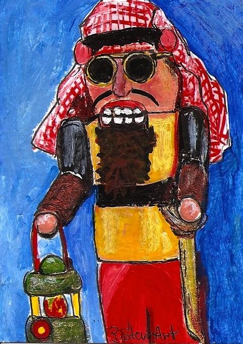"""ACEO Nutcracker Painting Oil Sheik Sunglasses Christmas Art Original Penny StewArt"" original fine art by Penny Lee StewArt"