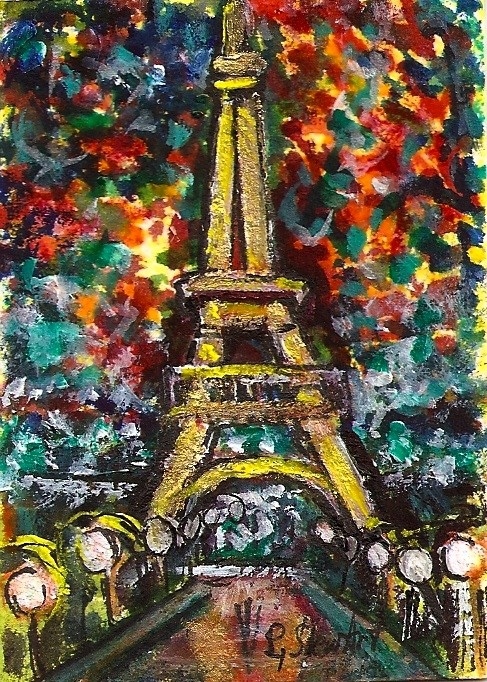 """ACEO Eiffel Tower Paris Cityscape France Miniature SFA Landscape Penny StewArt"" original fine art by Penny Lee StewArt"