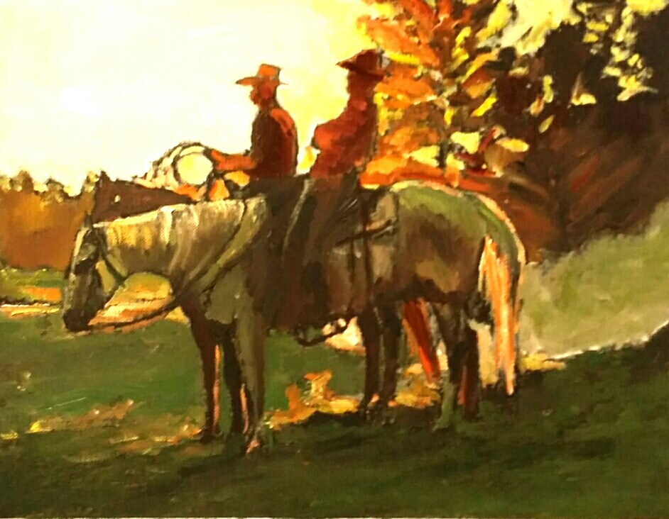 """""""The Silhouette of The West (8.5 x 10.5 Oil on canvas sheet - no frame)"""" original fine art by Ramon DelRosario"""