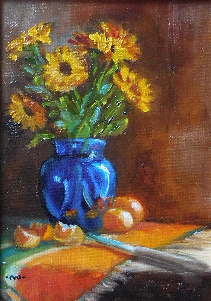 """""""Marigolds & Oranges"""" original fine art by Cietha Wilson"""