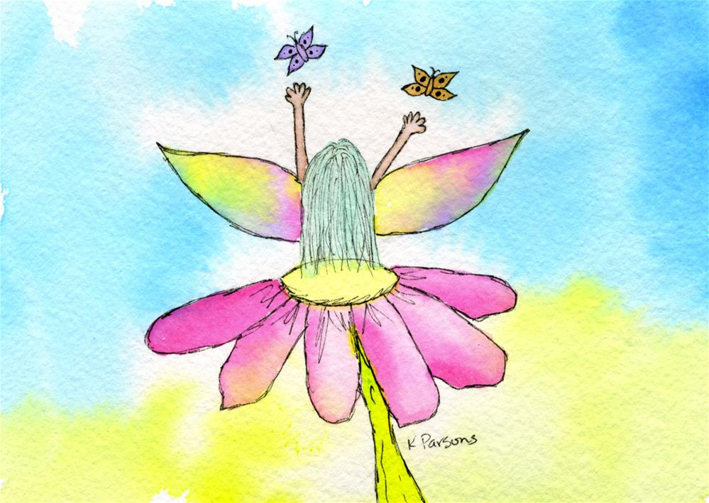 """Flower Fairy"" original fine art by Kali Parsons"