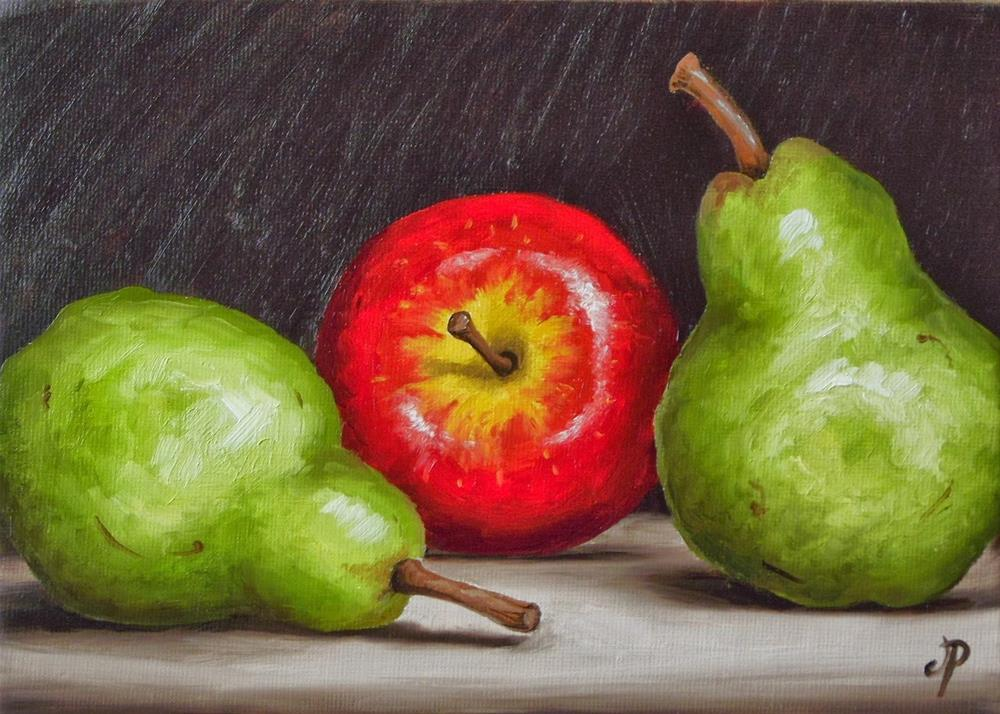 """Apple and Pears"" original fine art by Jane Palmer"