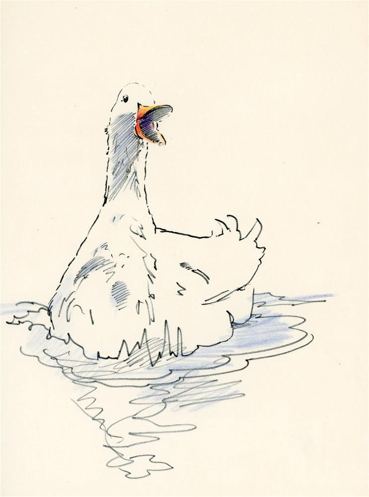 """""""duck sketch"""" original fine art by Susanne Billings"""