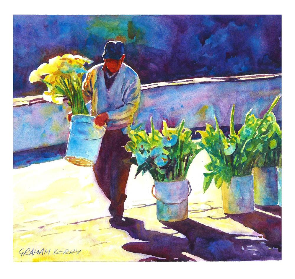 """Arranging the flowers."" original fine art by Graham Berry"