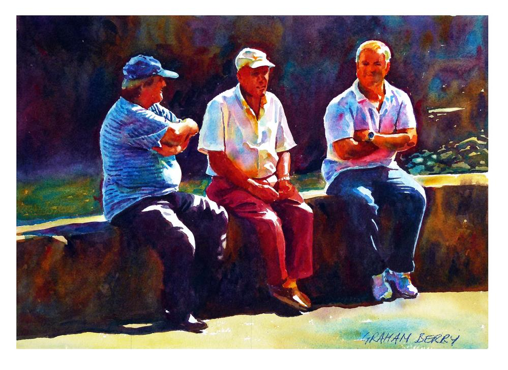 """Three men talking"" original fine art by Graham Berry"