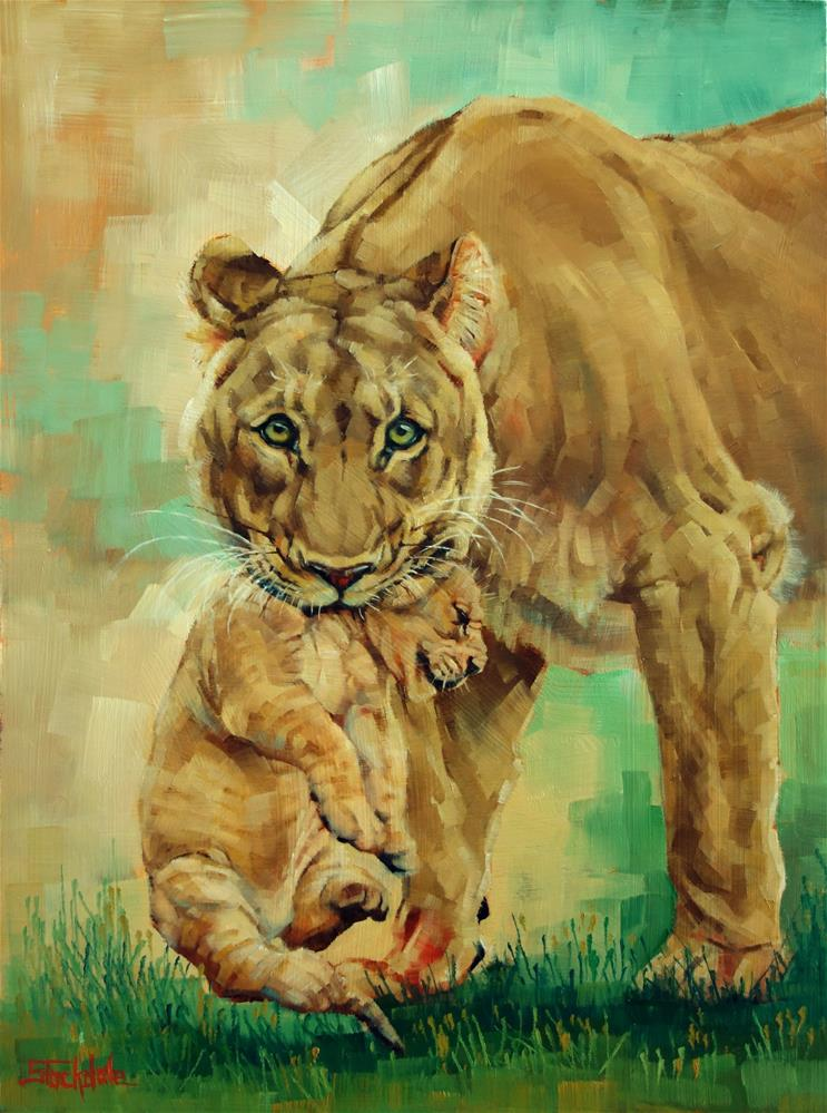 """Lioness And Cub"" original fine art by Margaret Stockdale"