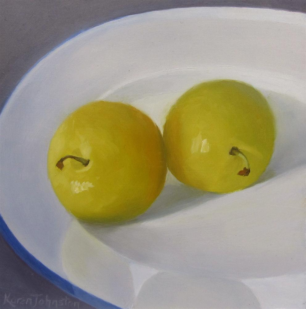 """Yellow Plums"" original fine art by Karen Johnston"