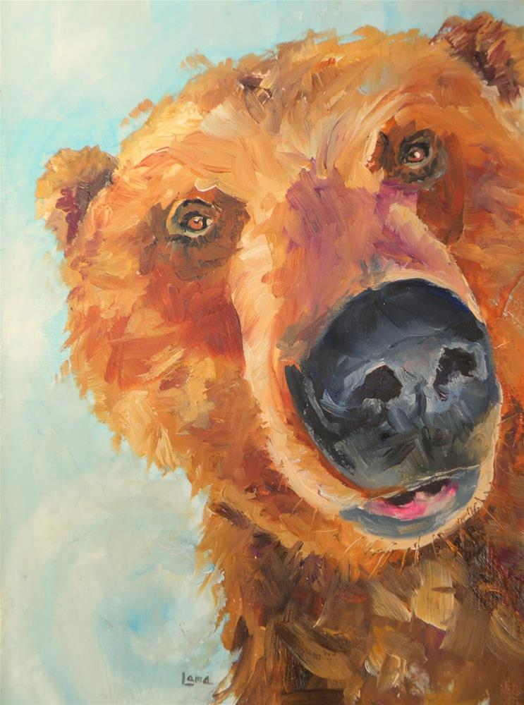 """BEARY CLOSE ORIGINAL OIL ON CANVAS PANEL © SAUNDRA LANE GALLOWAY"" original fine art by Saundra Lane Galloway"