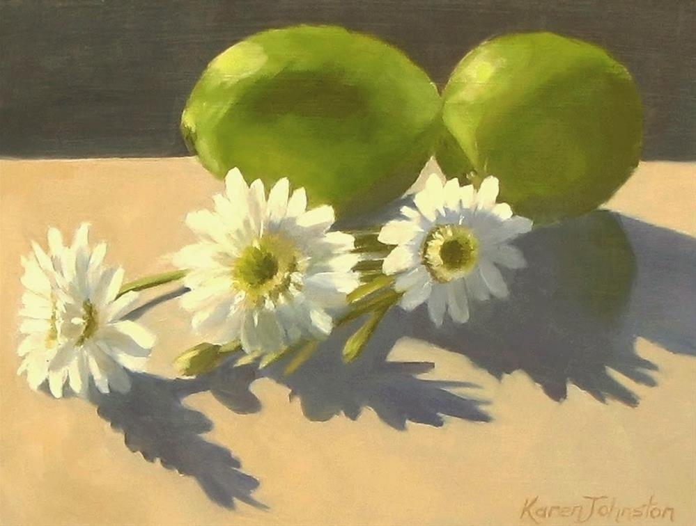 """Daisies and Limes"" original fine art by Karen Johnston"