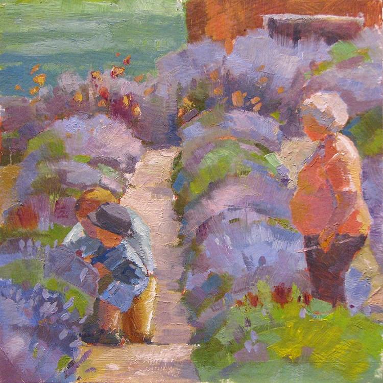 """Picking Lavender"" original fine art by Laura Gable"