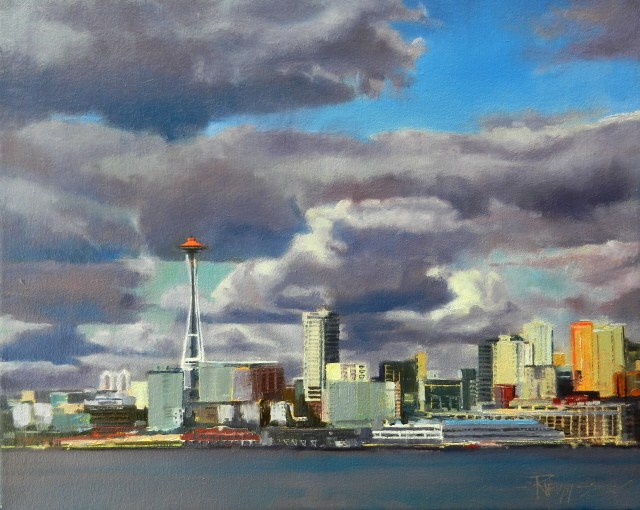 """Cloud Space Seattle city, oil painting by Robin Weiss"" original fine art by Robin Weiss"