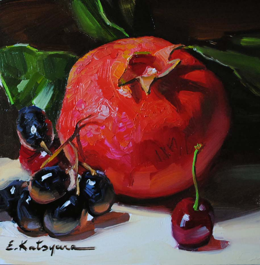 """Pomegranate, Grapes & Cherry"" original fine art by Elena Katsyura"