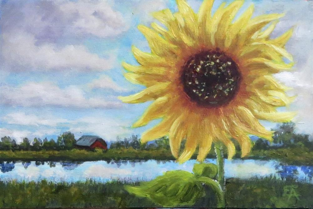 """Sunflower Miniature Landscape"" original fine art by Elizabeth Elgin"