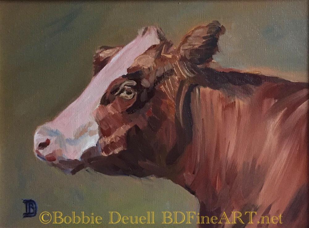 """""""#54 Bovine Divine"""" original fine art by Bobbie Deuell"""