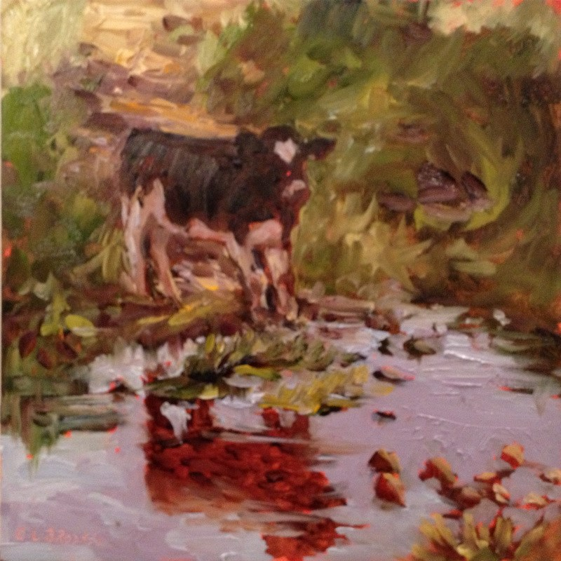 """Hesitant Heifer, Day 21"" original fine art by Claudia L Brookes"