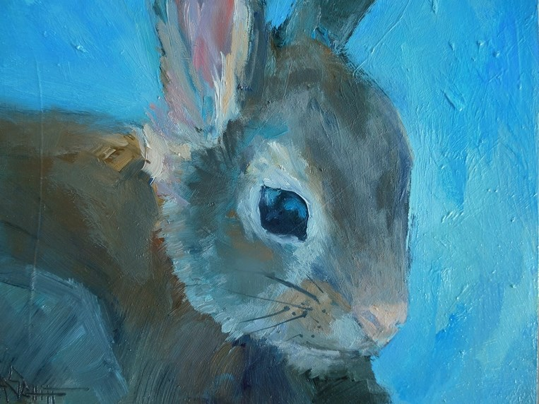 """Rabbit Painting,Wildlife Painting,  Daily Painting, Small Oil Painting, 6x8 Oil on Panel"" original fine art by Carol Schiff"