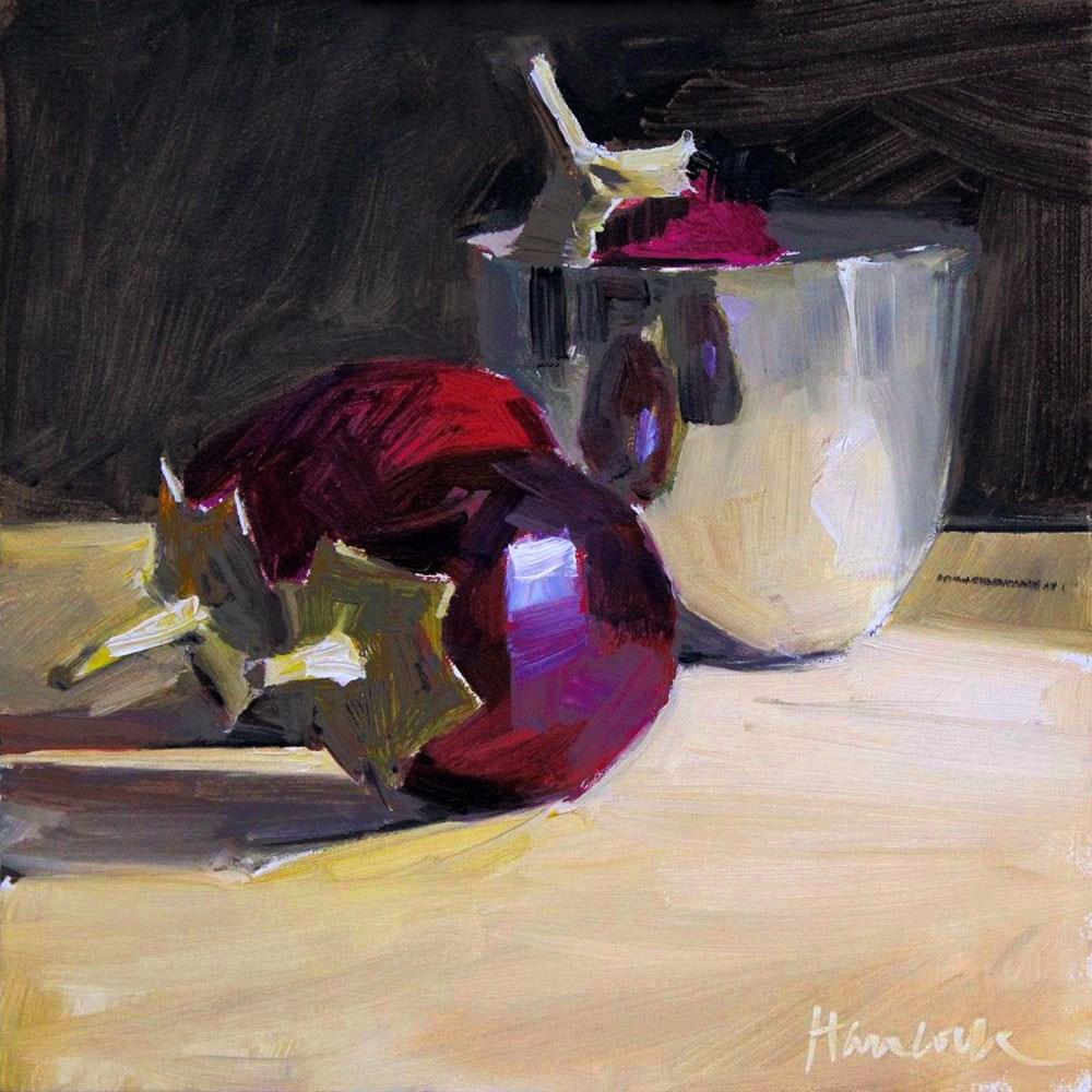 """Three Eggplant One in the Cup"" original fine art by Gretchen Hancock"