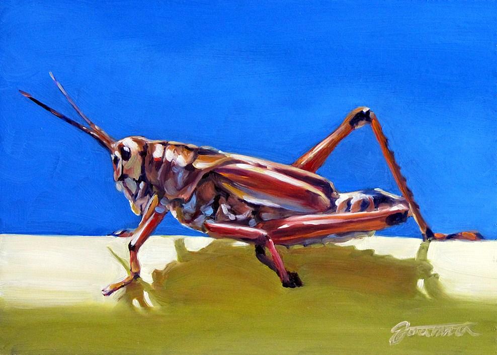"""Grasshopper On The Yellow Pole"" original fine art by Joanna Bingham"