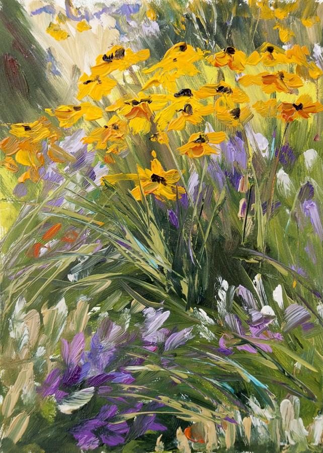 """""""KMD2824 Nature's Rhythms 7x5 floral oil by Denver, CO artist Kit Hevron Mahoney"""" original fine art by Kit Hevron Mahoney"""