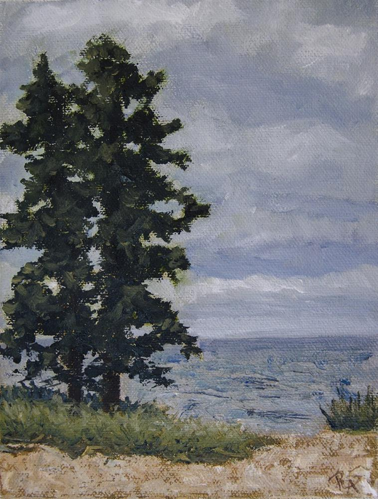 """Tall Tree on the Lake"" original fine art by Rachel Steely"