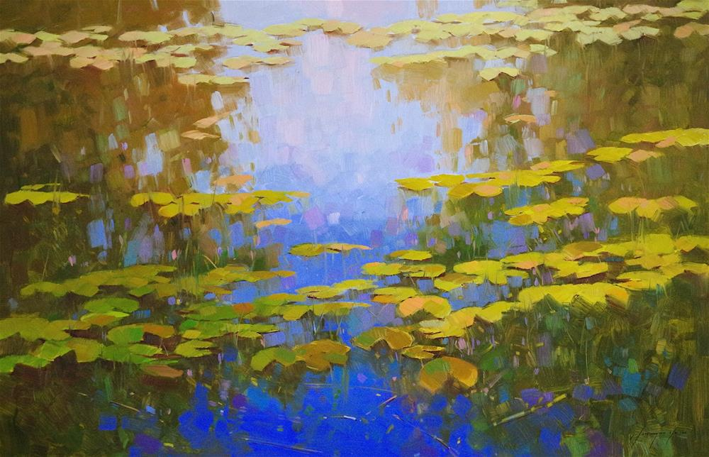 """Waterlilies Pond, Original Large Size oil Painting, One of a Kind"" original fine art by V Y"