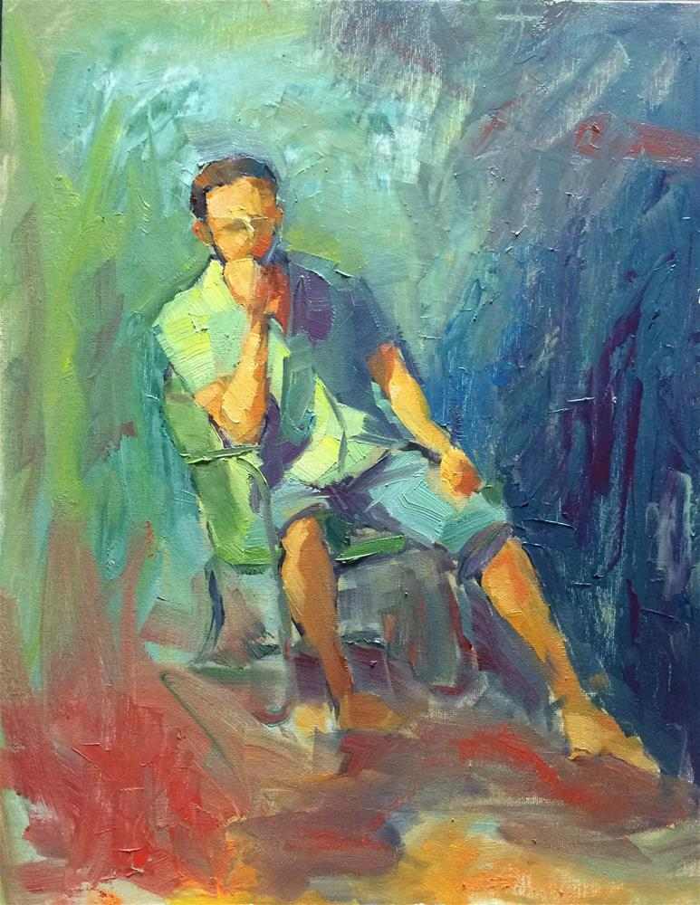 """Boy on a chair"" original fine art by Naomi Bautista"