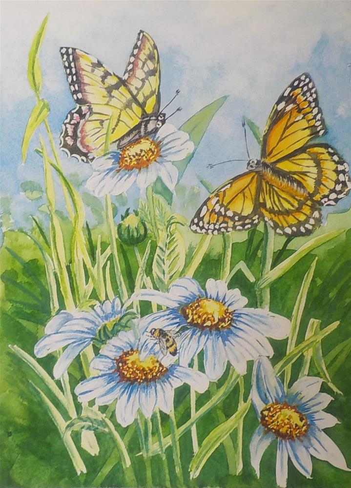 """Daisy and Butterflies  #258"" original fine art by Jim Whiteside"