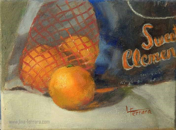 """Sweet Clementines"" original fine art by Lina Ferrara"