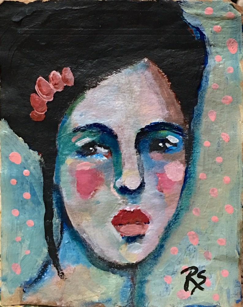 """Tea Bag Portrait - Soraya"" original fine art by Roberta Schmidt"