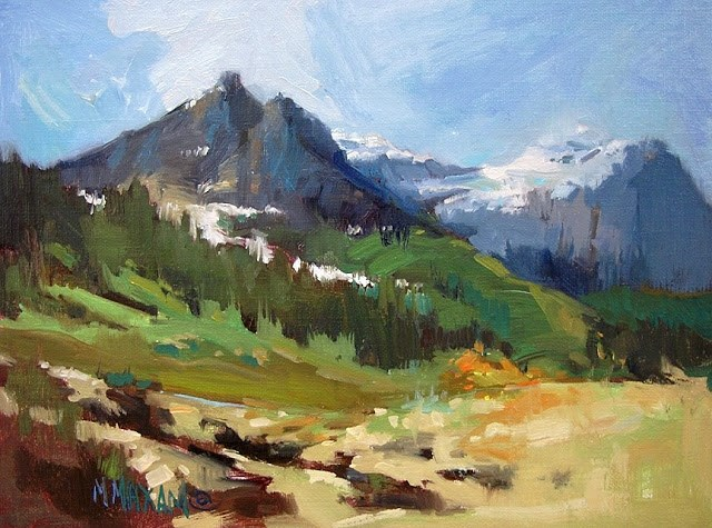 """Glacier Park Landscape - Revised"" original fine art by Mary Maxam"