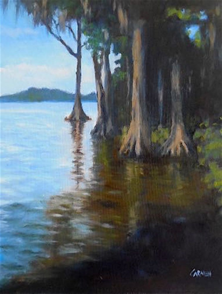 """Cypress Gardens, 8x10 Oil on Canvas Panel, Daily Painting"" original fine art by Carmen Beecher"