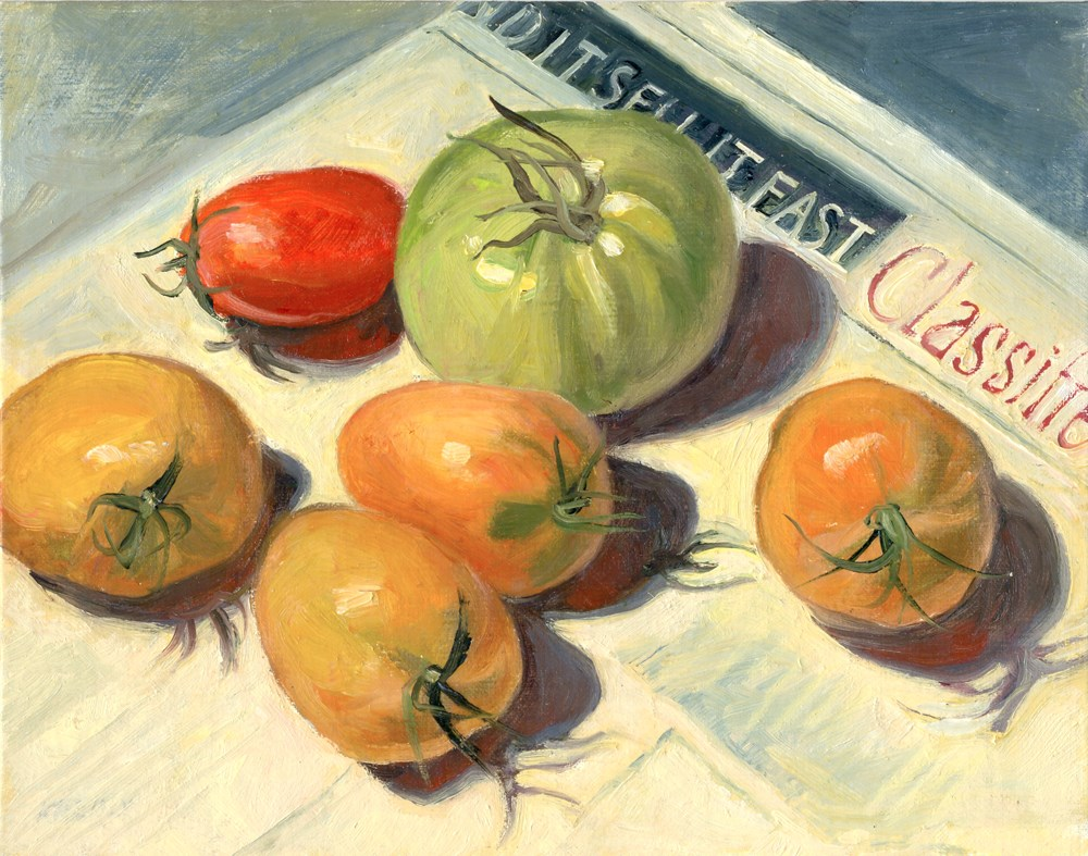 """Unripe Tomatoes"" original fine art by Kath Reilly"