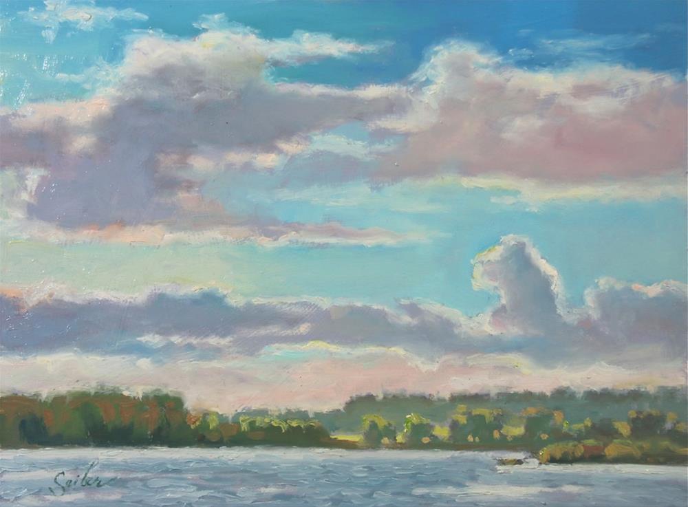 """Big Skies Mill Pond"" original fine art by Larry Seiler"