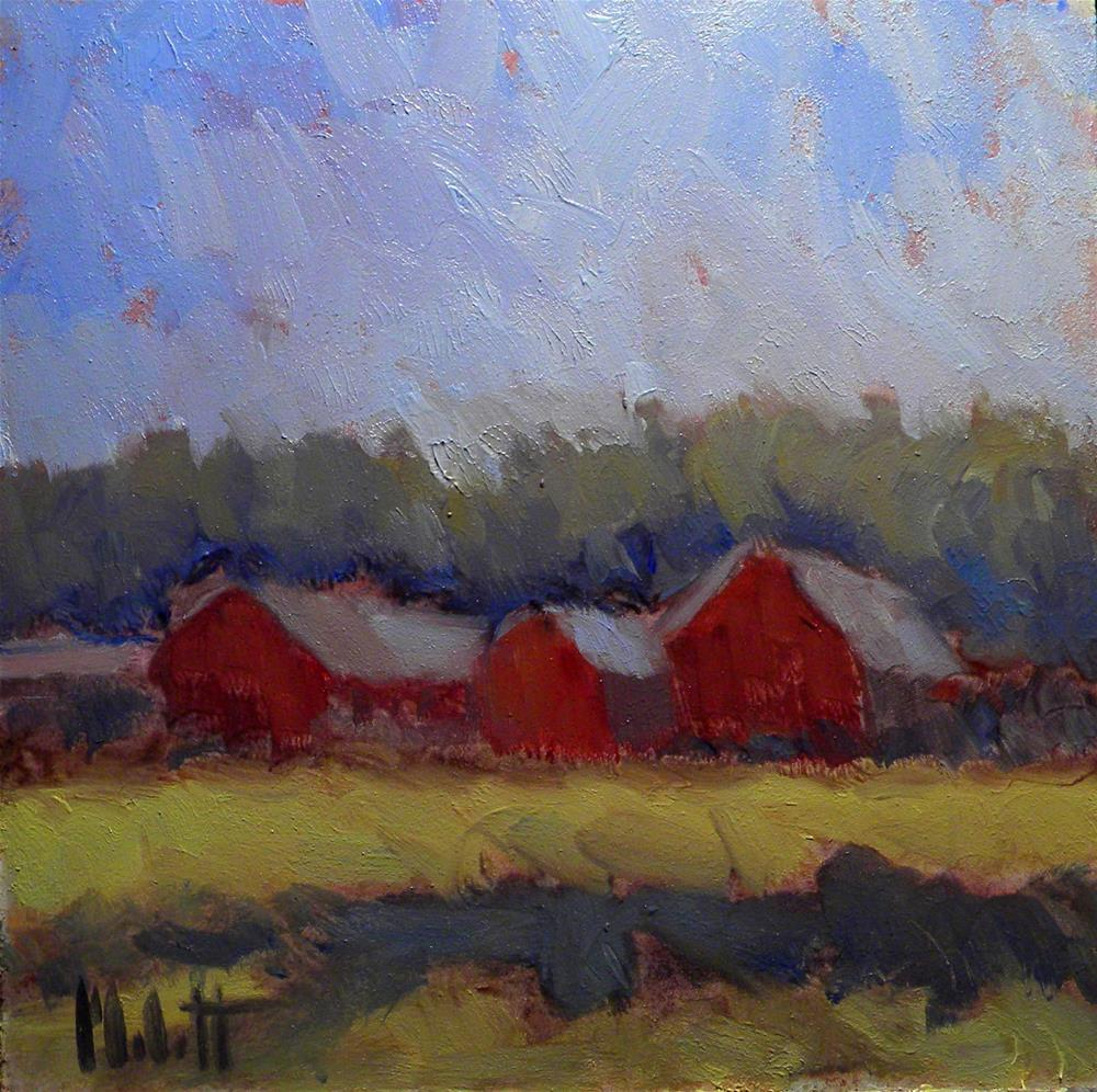 """Red Barn Farm Landscape Original Oil Painting"" original fine art by Heidi Malott"