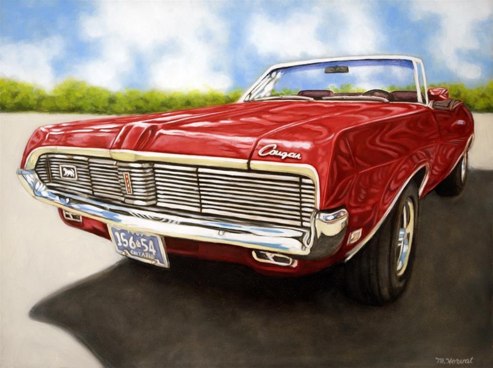 """""""Red '69 Cougar Convertible"""" original fine art by Margaret Horvat"""