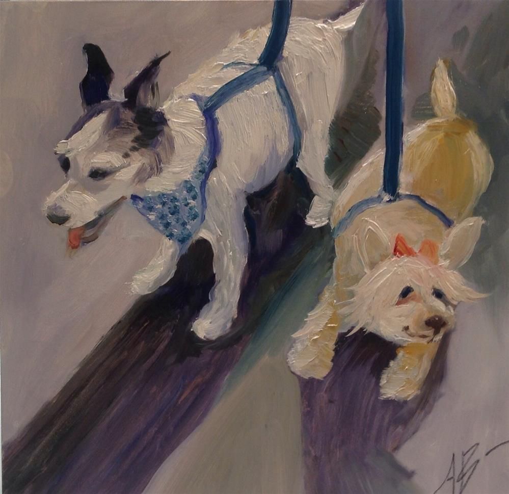 """Two pups on a leash"" original fine art by Annette Balesteri"