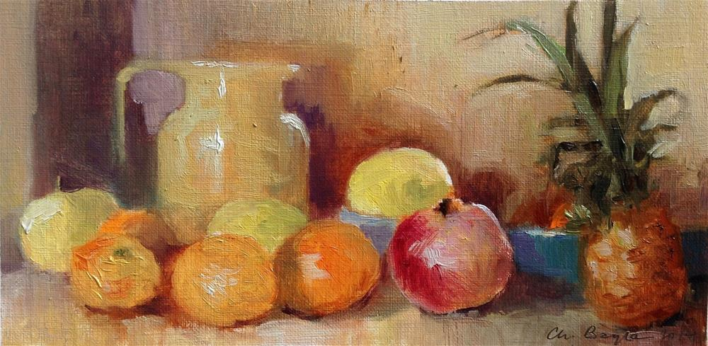 """Still life with pinapple"" original fine art by Christine Bayle"