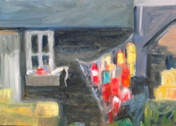 """Buoys on Shack"" original fine art by Lynne Schulte"