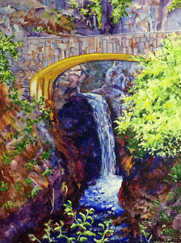 """Water Under the Bridge"" original fine art by Nan Johnson"