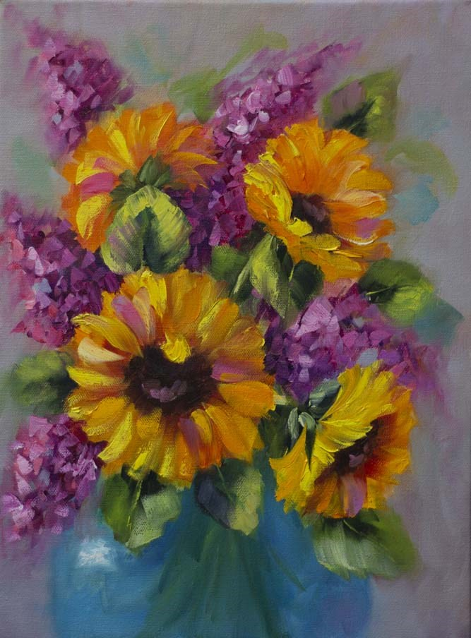 """Serendipity Sunflowers"" original fine art by Bobbie Koelsch"
