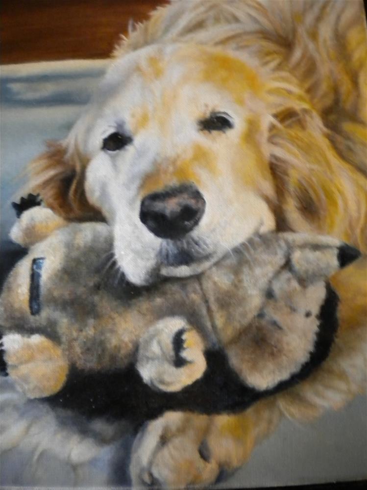 """Alex and his hedge hog"" original fine art by Hilarie Johnson"