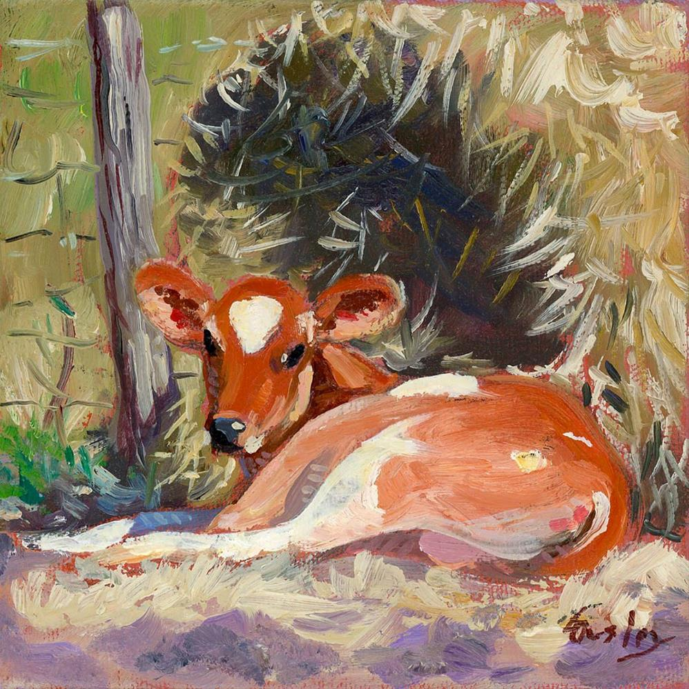 """Resting Calf in Nolensville TN"" original fine art by Chris Ousley"