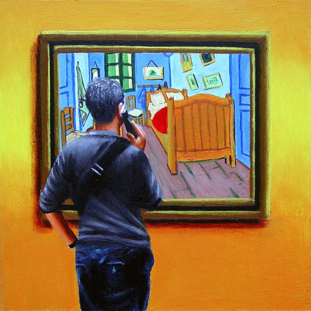 """Bedroom in Arles- Painting Of Man Enjoying Painting By Vincent van Gogh"" original fine art by Gerard Boersma"